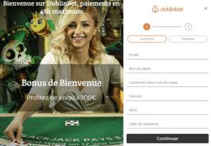 comment s'inscrire sur le casino en ligne Dublin Bet