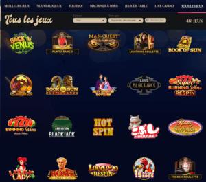 gamme de jeu casinos en ligne VegasPlus