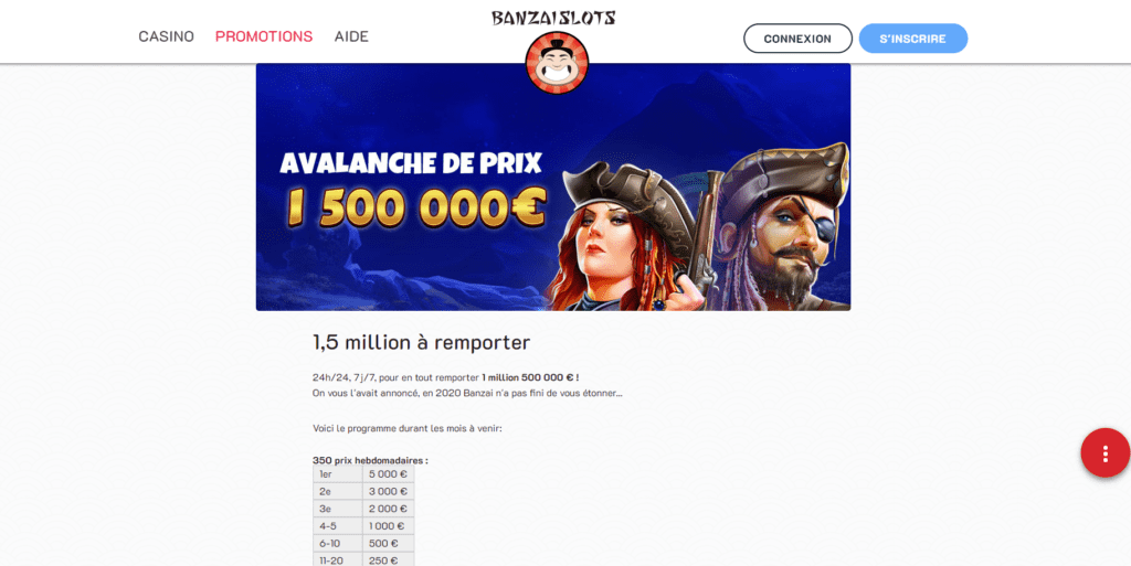La promotion Pragmatic Plau sur le casino en ligne Banzai Slots
