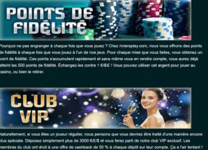programme de fidélité sur le casino en ligne RivieraPlay