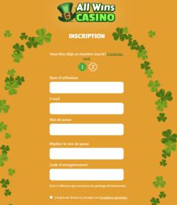 All Wins Casino inscription