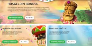bonus et promotions sur le site Boaboa
